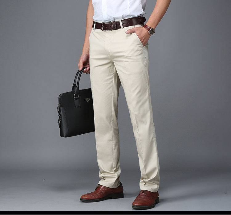Men Pants Casual Classic Summer Thin Men Social Pants Cotton Straight Trousers pantalon homme Plus Size Khaki Pants Men Black