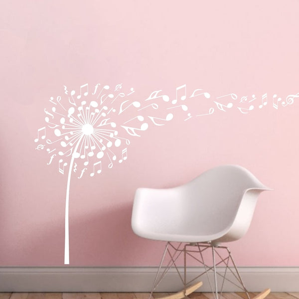Music Notes Pattern Wall Decal Music Dandelion Vinyl Stickers Home Art Design Murals Bedroom Wall Decor