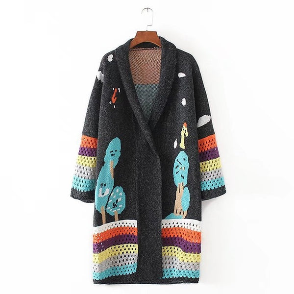 Autumn Patchwork Long Cardigan Women Casual Knitted Loose Long Korean Sweater Coat Jumper LS64