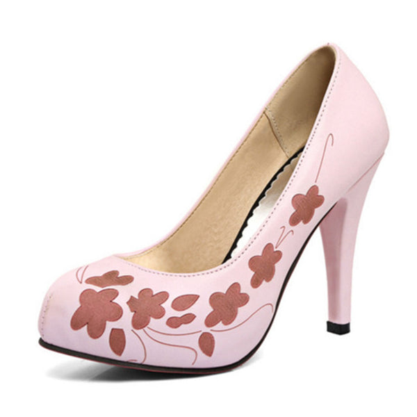 Printed Leather Women High Heel Shoes New Arrival Vintage Pumps Brand Platform Footwear Women Shoes