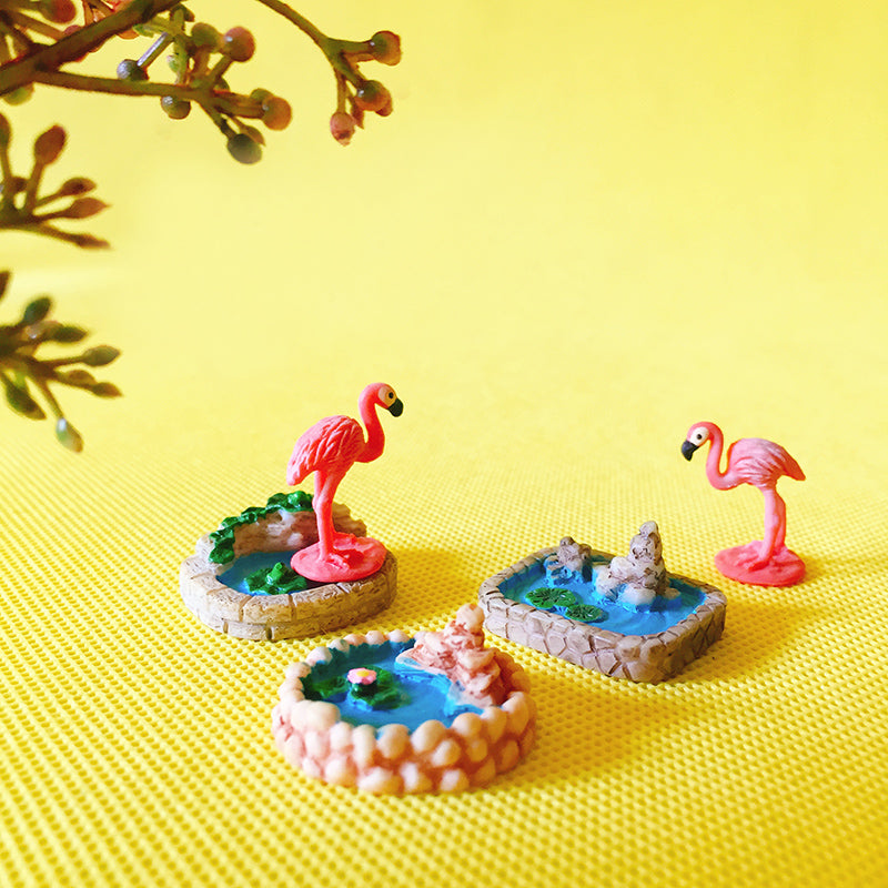 3pcs cute pond/1 pcs flamingo/pool/miniatures figurine/fairy garden gnome/terrarium home table decoration/crafts/diy supplies