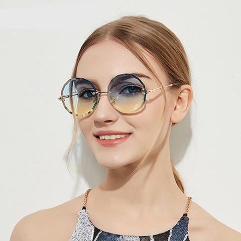 Round Sunglasses Women Designer Rimless Crystal Sun Glasses UV400 Female lunette de soleil gunes gozlugu W18905