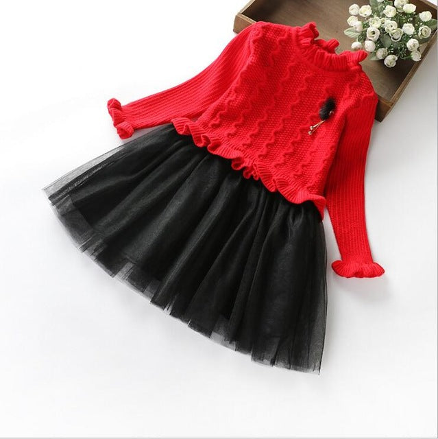 32c76732d Red And Black Little Girls Dresses Long Sleeve Two Tone Tulle Skirts ...