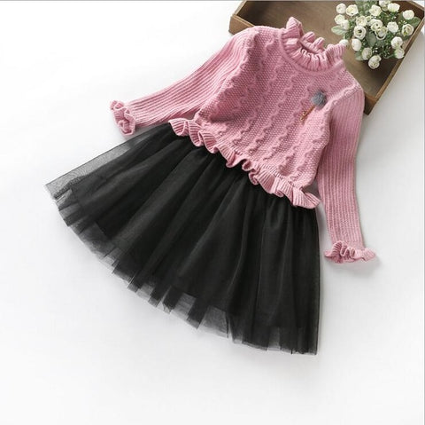 Red And Black Little Girls Dresses Long Sleeve Two Tone Tulle Skirts For Girls Height 110 cm to 150 cm Free Size Gowns  ZF060
