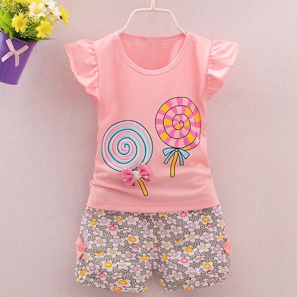 Lovely baby girl clothes 2PCS Toddler Kids Baby Girls Outfits T-shirt Tops+Short Pants Clothes Set