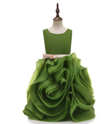 Oliver Green Flower Girl Dresses Princess Ball Gown Girl Party Dress Wedding Communion Dress For Girls vestido daminha FL13