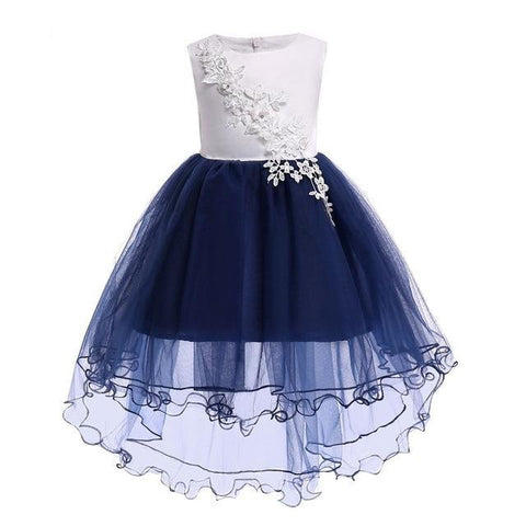 Lovely Knee Length Hi-low Navy Flower Girl Dresses Applique Flower Kids Pageant Dresses Girls Communion Dresses