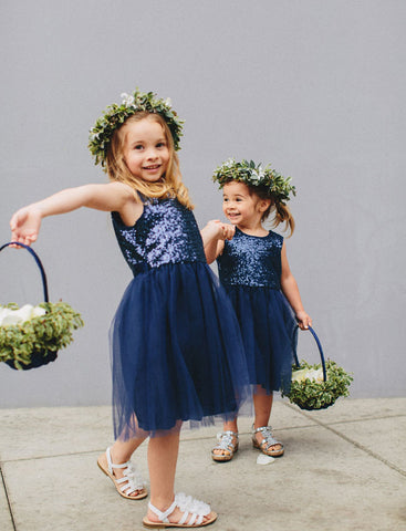 Navy Blue Flower Girl Dresses For Weddings A-line Cap Sleeves Tulle Sequins First Communion Dresses For Little Girls