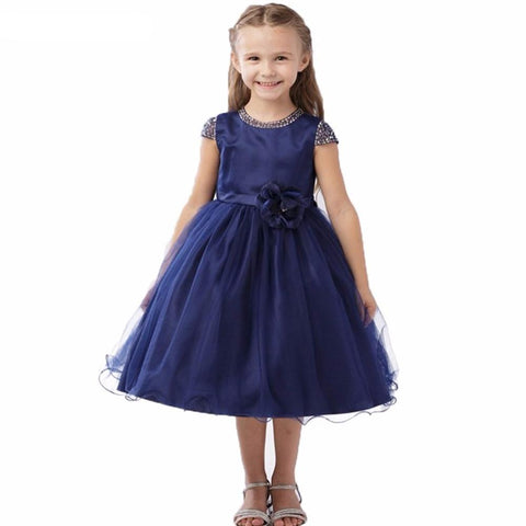 A-line Beaded O-neck Cap Sleeve Flower Girl Dress Tea Length Navy Blue Wedding Party Gowns Free Shipping FLG063