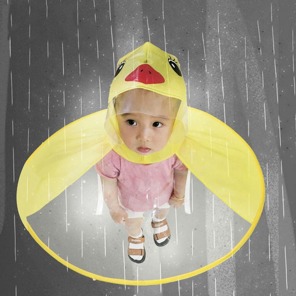 Cute Kids Coat Cartoon Duck Children Boys And Girls Rain Umbrella Hat Magical Hands Free Raincoat Caps Hot Sale PVC Hat For Kid