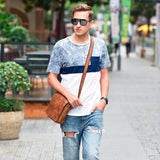 Scrub top layer leather shoulder bag retro men's bag Europe and the United States trend summer Messenger bag small bag