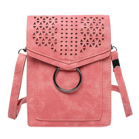 Mini Retro Hollow Fashion Style Women Leather Shoulder Bags Flap Crossbody Bags Lady Wallet Female Phone Coin Purse