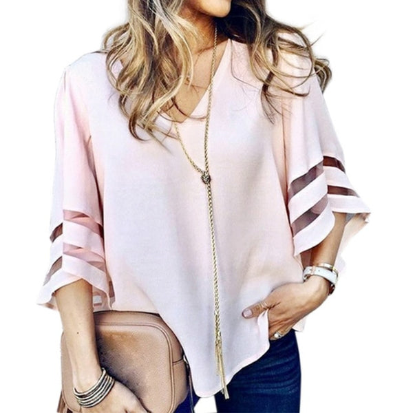 Baggy Flare Sleeves White Shirt V Neck Mesh Patchwork Women Blouse Tops Female Summer Street Chiffon Shirts