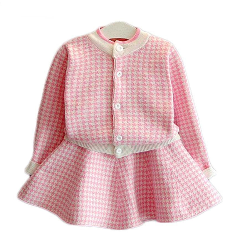 Girls Clothing Sets Kids Houndstooth Knitted Suits Long Sleeve Plaid Jackets+Skirts 2Pcs for Kids Suits