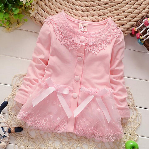 Children Clothes Coat Fashion Solid Color Long Sleeve Lace Bow Shirt Kids Girls Baby Coat Girls Spring Autumn Coat