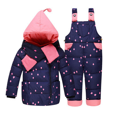 Baby Girl Winter Down Clothing Sets Winter Dot Print Hooded Newborn Infant Bebes Carter Snow Outwear Coat +Overalls Pants+Scarf