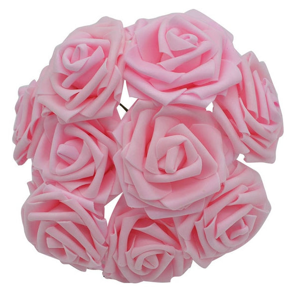17 Color 10pcs 8cm Artificial PE Foam Rose Flowers For Wedding Bride bridegroom Bouquet Party Birthday Decoration DIY Supplies 8