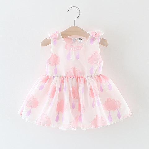 Girls Dresses Summer Sleeveless Cartoon Clouds Lovely Princess Dress for Infant Children's Clothing k1