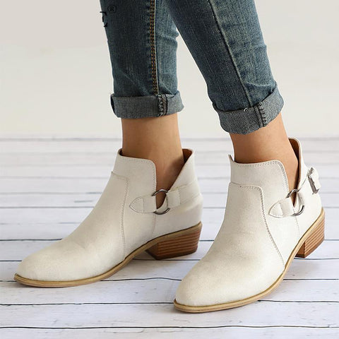 Autumn Female Ankle Boots Woman Low Heel Shoes Buckle Clog Heels Plus Size Casual Slip On Short Boot Sewing Footwear