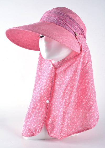 Summer Sun Hats for Women anti UV with foldabe scarf hat little flower design protect the neck turban bowknot caps TMP08