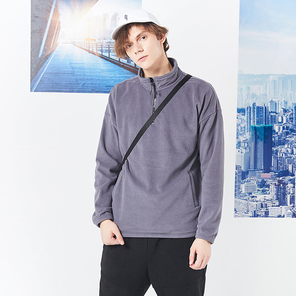 new fleece sweatshirt hoodies men brand clothing autumn winter half zipper collar warm male sweatshirts AWY801369A