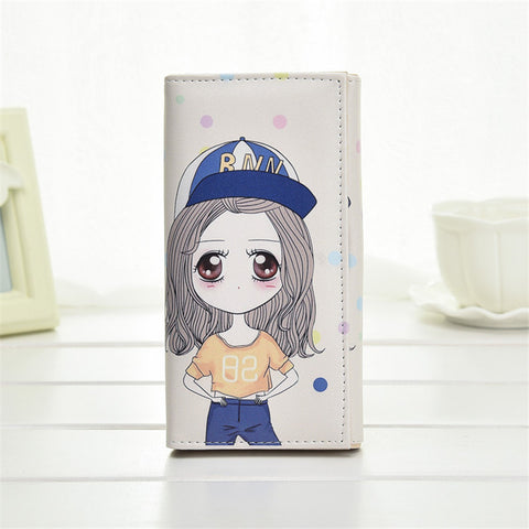 Fashion Printing Design Fresh Long Wallet Women Girl Clutch Purse Cute Kids Coin Money Bag Cartoon Girl Buckles Card Holder Bag