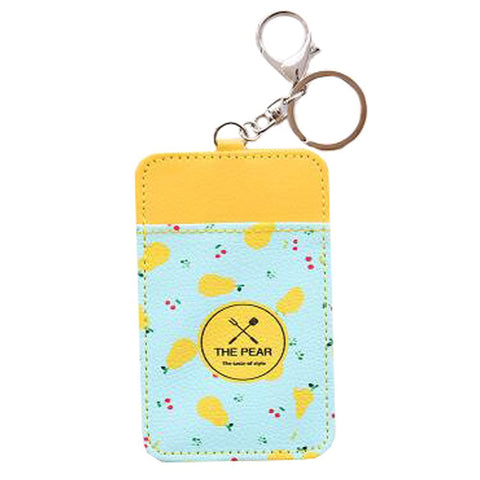Fashion Card Bag Credit Card Case ID Card Holder Business Card Folder, Key Chain Pear
