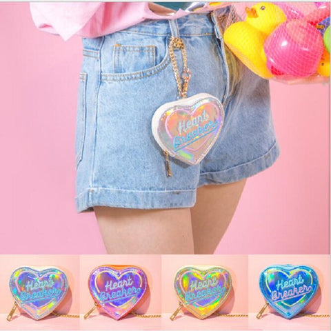 Cute coin purses Women Heart Hologram Wallet Laser Zipper Clutch Money Purse Bank Card Holders  Small Coin Purse