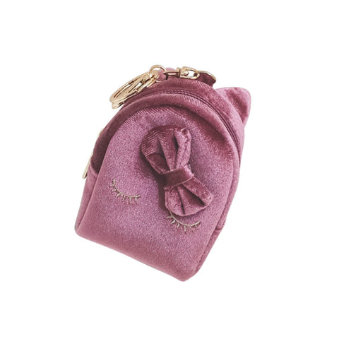 Gift For Kid Fashion Mini Coin Bag With Keyring PU Leather Purse Cute Cat Wallet Card Holder Bowknot Sweet Girl Money Bags