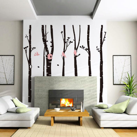 Large Forest Bird Room Bedroom Background Wall Stickers Decal Wallpaper Mural Nursery Baby Forest Home  Decoration