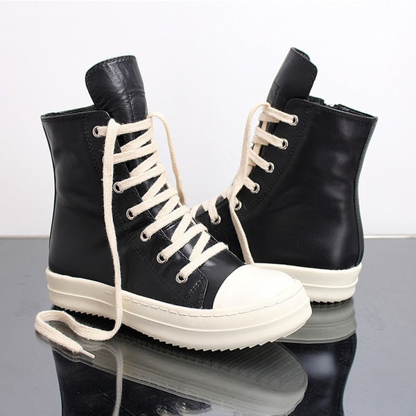 Street Hip Hop sneakers dancing Casual Rock shoes Wax Leather Canvas ankle Boots Classic Lace Up high top shoes men sneakers
