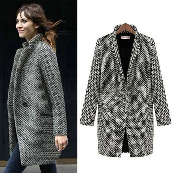 Autumn Winter Suit Blazer Women Formal Woolen Jackets Work Office Lady Long Sleeve Blazer Outerwear Plus Size 7XL