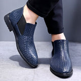 Men's boots Shoes Leather Holes Design Winter Breathable Shoes High Quality Business Men Flats
