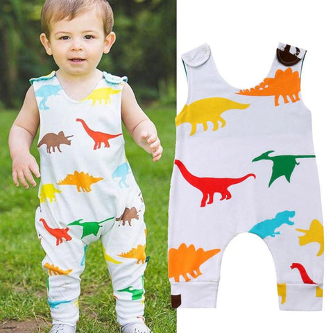 Baby Girl Boy Romper Clothes NewBorn Sleeveless Dinosaur Print Playsuit Jumpsuit Baby Infant Romper Toddler Set 18Jul27