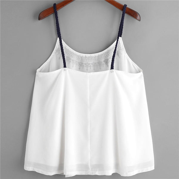 Fashion womens tops and blouses summer Sleeveless Tank Tops Embroidered Chiffon Cami Top Blouse camicette Y18#N