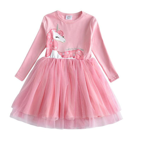 Girls Dress Long Sleeve Kids Flower Dresses Children Unicorn Vestidos 2018 Girls Dresses Autumn Kids Dress For Girl