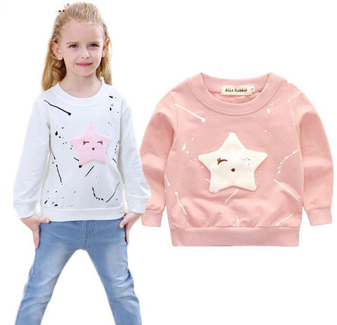 New Baby Girls Clothing Banner Star Girls  Long Sleeve T Shirt Children's Clothing  Casual Tops Tee Shirt k1