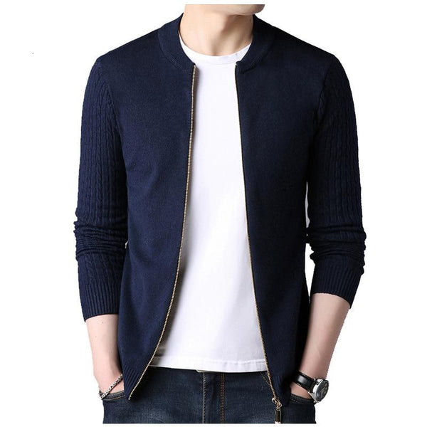 New Autumn Men Cardigan Solid Color Casual Men Knitwear Sweater High Quality Zipper Sweater Slim Fit Pull Homme Y061