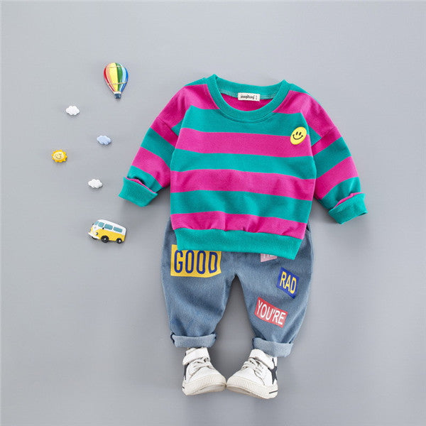 24aca0c58 ... Hot sale Cotton autumn casual striped kid suit children set baby  clothing boys clothing girl clothing ...