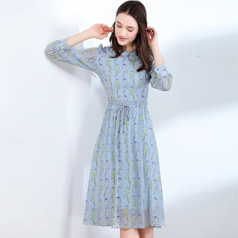Summer Autumn Chiffon Printed Dress Women Elegant Party Long Dress Floral Print Slim Beach Casual Female Vestidos