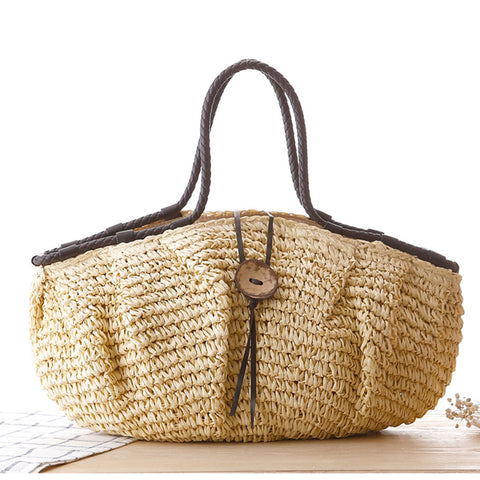 Large Beach Bags Women Hasp Tote Bags For Women Straw Handbag Bohemian Summer Holiday Bag Ladies Shoulder Casual Straw Bag W295