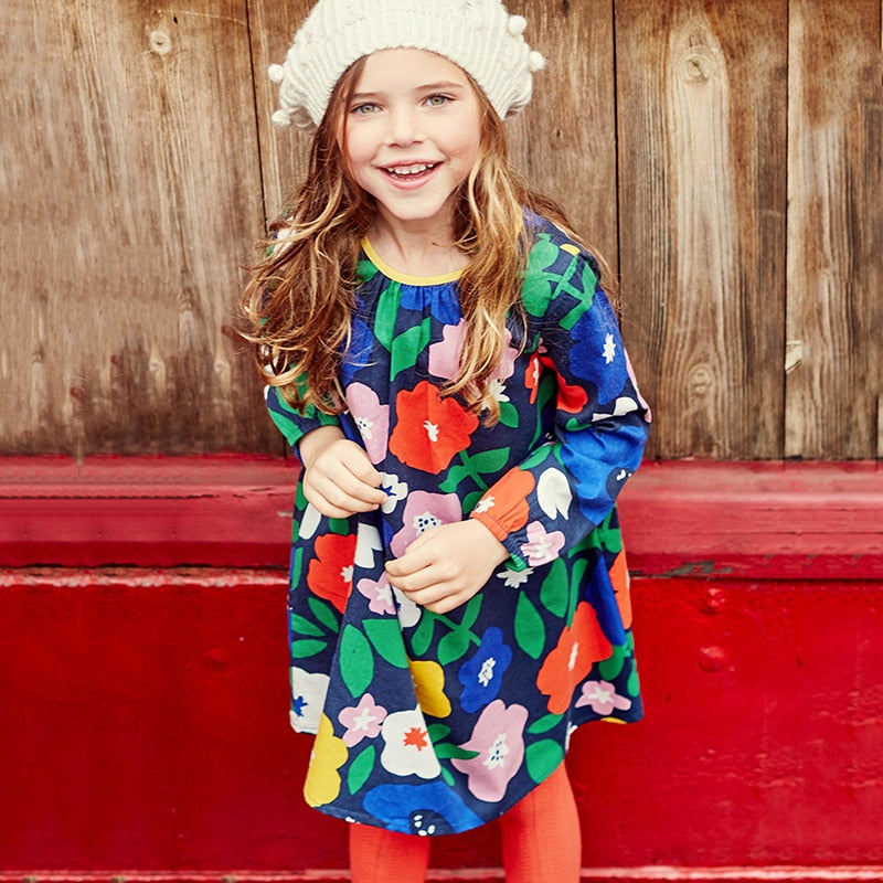 style brand children's dress children's dress woven print girl's long sleeved dress pure cotton children's