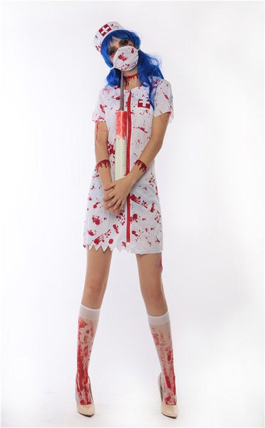 New Spoof Bloody Nurse Halloween Costume Cosplay Party Stage Devil Dress Suits Fancy Dresses Clothing