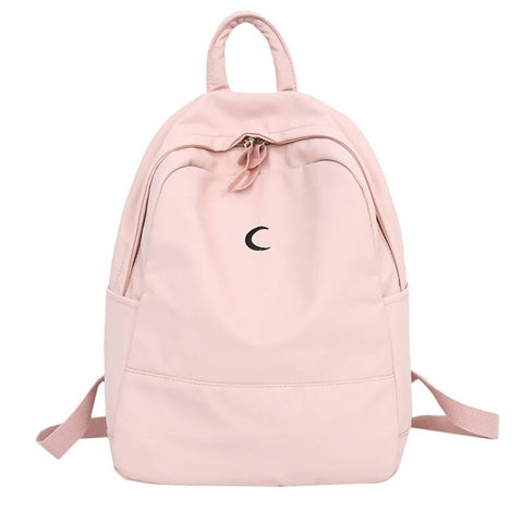 Candy Color Canvas Women Casual Backpack Sweet Printing Moon Girls School Bags Laptop Backpack mochilas