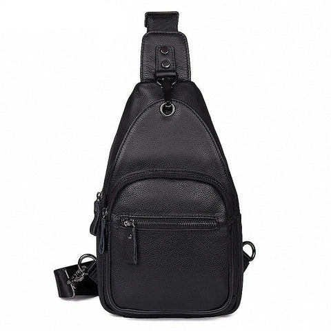 100% Genuine Leather Men Chest Bag Waterproof Chest Pack Men's Handbags Shoulder Bags Casual Male Bag Crossbody LI-2023