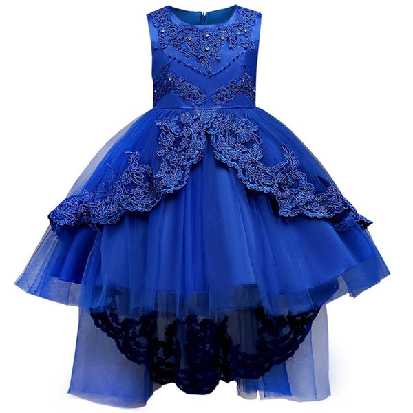 daa1d239 Summer children clothing girl floral princess Party dress kids Lace  birthday Wedding Teenage dress Tutu 3 ...