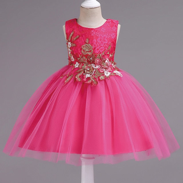 Summer children clothing girl floral princess Party dress kids Lace birthday Wedding Teenage dress Tutu 3-14 Y baby girl clothes