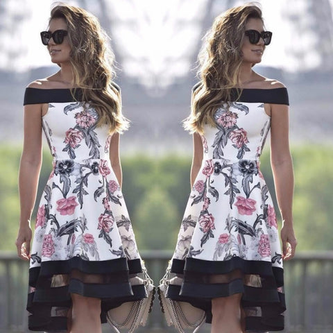 Women Floral Print Off Shoulder Dress Casual Short Mini Evening Party Beach Dress Sleeveless