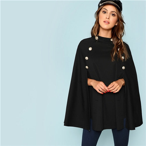 Black Highstreet Office Lady Double Button Mock Poncho Solid Elegant Coat New Autumn Women Workwear Outerwear Clothes