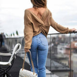 V Neck Twisted Back Sweater Women Jumpers Pullovers Casual Tops Long Sleeve Knitted Sweaters pull femme